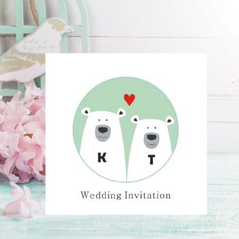 Polar Bear Wedding Invitations - Personalised with Initials - FREE Framed Keepsake Print With Every Order